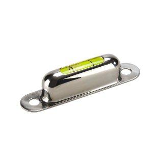 Röhrenlibelle Messingfassung vernickelt 50 57x12x13mm, 2x Bohrloch 4,5mm, 1 Sichtfenster, grüngelbe Füllung