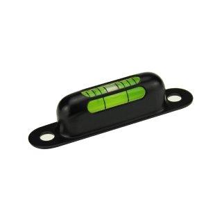 Röhrenlibelle Messingfassung schwarz 5 57x12x13mm, 2x Bohrloch 4,5mm, 3 Sichtfenster, grüngelbe Füllung