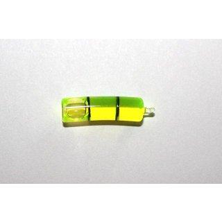 Röhrenlibelle Ganzglas gebogen 18mm/m 24x6mm, 2 Teilstriche schwarz, grüngelbe Füllung