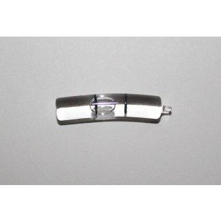 Röhrenlibelle Ganzglas gebogen 18mm/m 35x7mm, 2 Teilstriche schwarz, klare Füllung