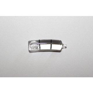 Röhrenlibelle Ganzglas gebogen 22x6mm, 2 Teilstriche schwarz, klare Füllung