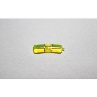 Röhrenlibelle Ganzglas gebogen 27x7mm, 2 Teilstriche schwarz, grüngelbe Füllung