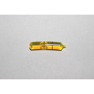 Bent Glass Vial 27x6mm, 2 Black Markings, Yellow Liquid