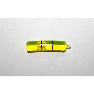 Röhrenlibelle Ganzglas gebogen 30x7mm, 2 Teilstriche schwarz, grüngelbe Füllung