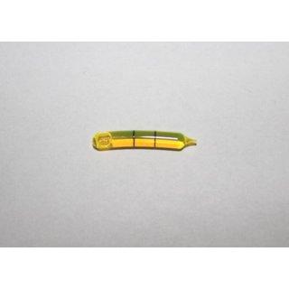 Röhrenlibelle Ganzglas gebogen 30x4,5mm, 2 Teilstriche schwarz, grüngelbe Füllung