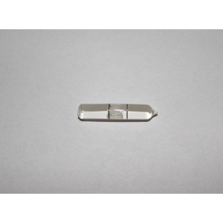 Röhrenlibelle Ganzglas gebogen 35x7mm, 2 Teilstriche schwarz, klare Füllung, Rückseite weiß lackiert