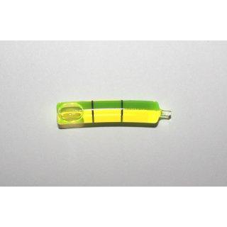 Röhrenlibelle Ganzglas gebogen 35x7mm, 2 Teilstriche schwarz, grüngelbe Füllung