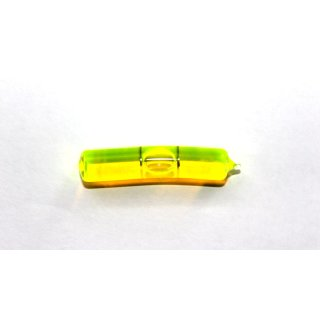Bent Glass Vial 40x8,2mm, 2 Black Markings, Yellow/Green Liquid