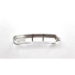 Röhrenlibelle Ganzglas gebogen 44x7,2mm, 2 Teilstriche schwarz, klare Füllung
