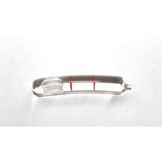 Röhrenlibelle Ganzglas gebogen 45x7,5mm, 2 Teilstriche rot, klare Füllung